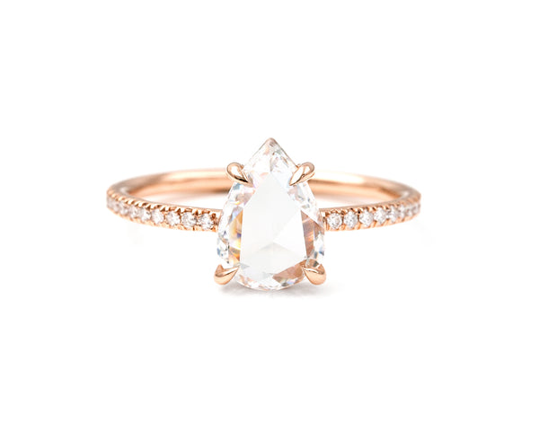 1.12-Carat Rose Cut Pear Diamond Ring