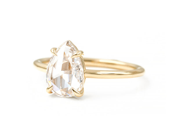 1.13-Carat Pear Rose Cut Diamond Solitaire