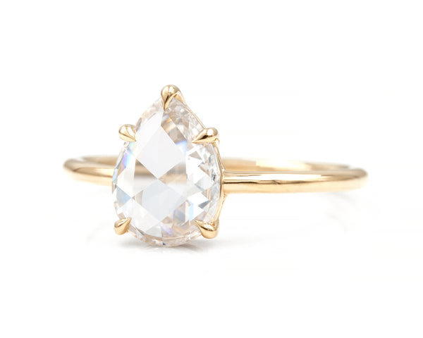 1.16-Carat Rose Cut Pear Diamond Solitaire