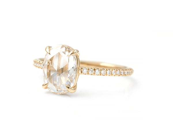 1.22-Carat Rose Cut Oval Diamond Ring