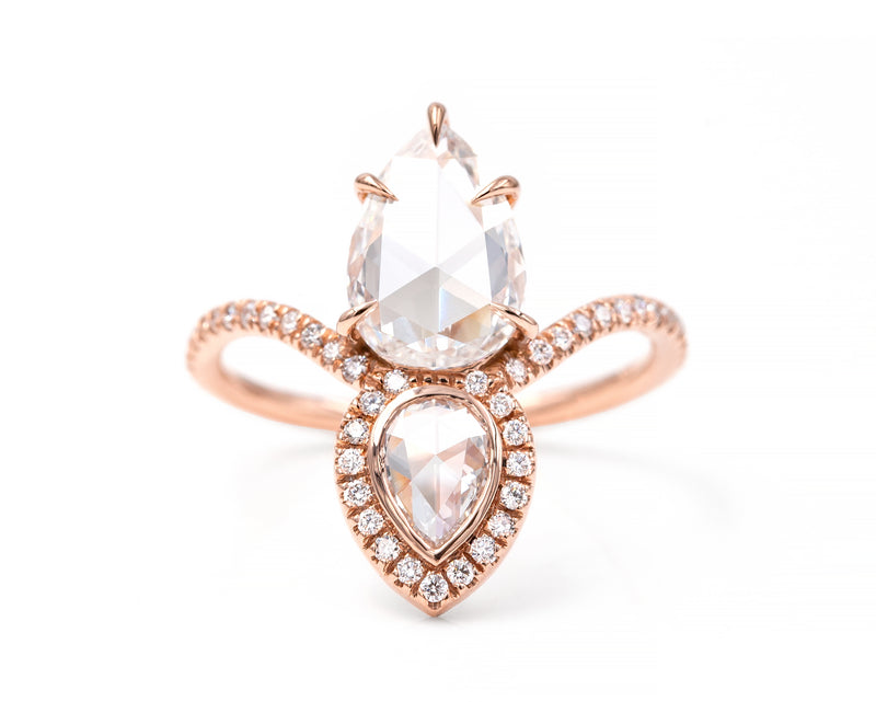 Pear Rose Cut Equilibrium Ring
