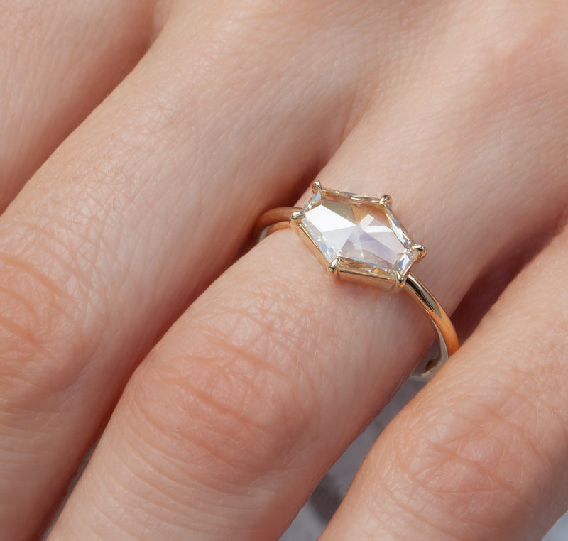 1.24-Carat Champagne Hexagon Solitaire Ring