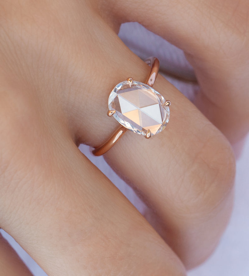 1.25-Carat Rose Cut Oval Solitaire