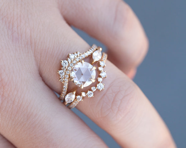 1.30-Carat Round Rose Cut Coronet Ring