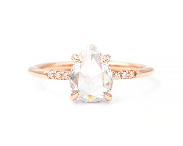 1.31-Carat Rose Cut Pear Diamond Ring