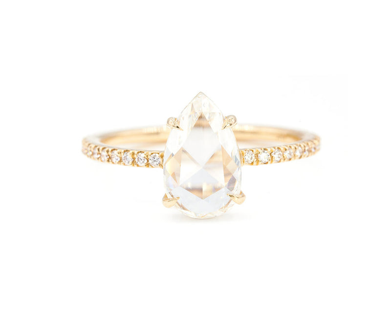 Everett Fine Jewelry 1.38-Carat Rose Cut Pear Diamond Solitaire