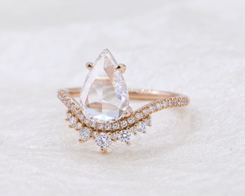 1.41-Carat Rose Cut Pear Coronet Ring