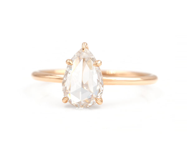 1.43-Carat Rose Cut Pear Diamond Solitaire
