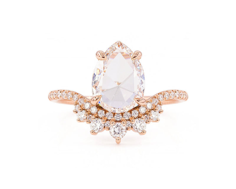 Everett Fine Jewelry 1.50-Carat Pear Rose Cut Diamond Coronet Ring