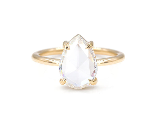Everett Fine Jewelry 1.58-Carat Pear Rose Cut White Diamond Solitaire