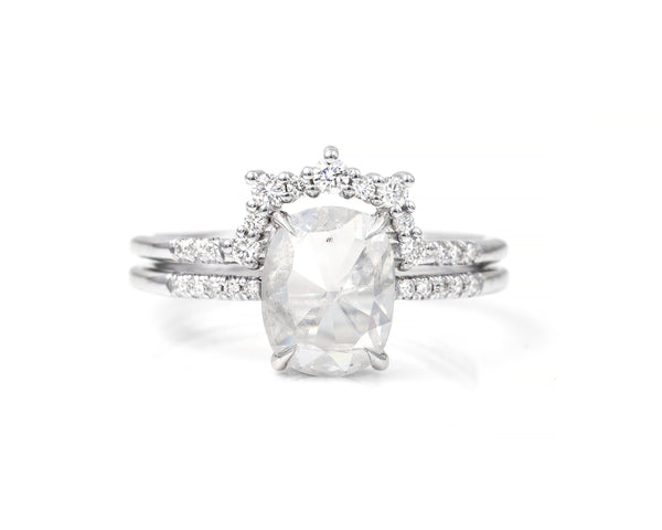 1.42-Carat Grey Oval Solitaire and Skyler Band Set