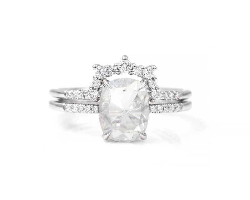 1.42-Carat Rustic Oval Diamond Bridal Set