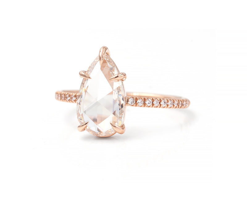 1.84-Carat Rose Cut Pear Diamond Ring