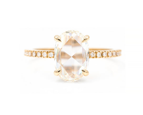 2.01-Carat Rose Cut Oval Diamond Ring