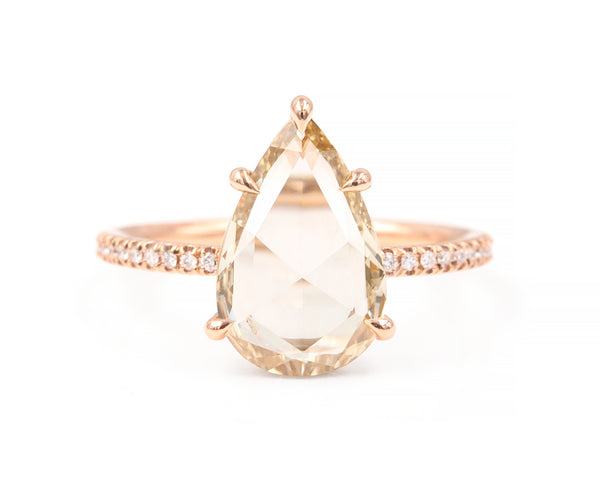 2.02-Carat Rose Cut Pear Diamond Ring