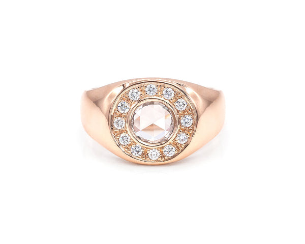 Everett Fine Jewelry Rose Cut Diamond Signet Ring