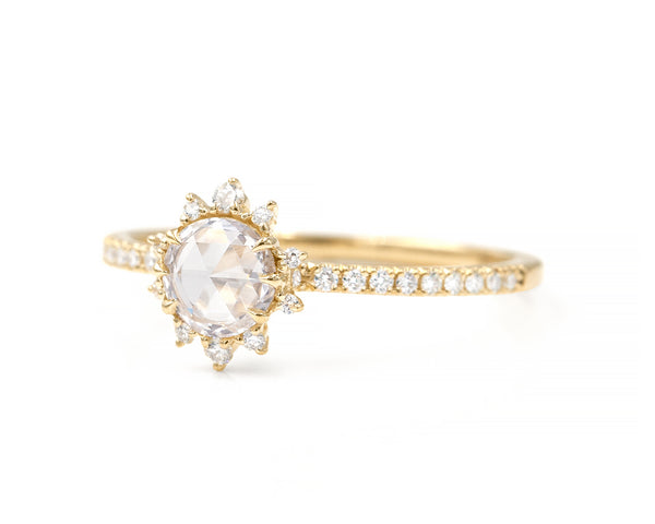 Lyra White Diamond Halo Ring