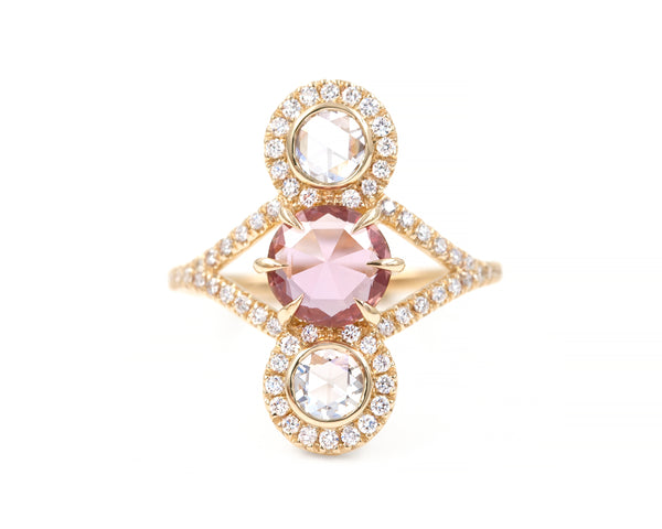 Pink Sapphire Triple Equilibrium Ring (size 6.5 in stock)