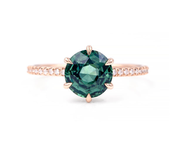 2.60-Carat Teal Sapphire Taylor Ring