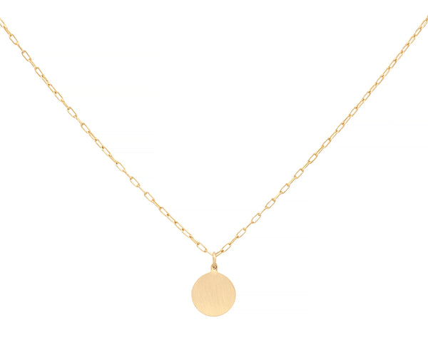Small Engravable Circle Charm Necklace
