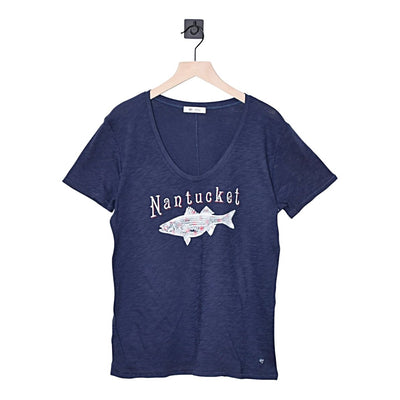 Nantucket Striper Tidal Slub V-Neck