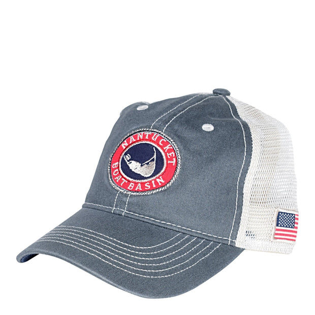 Nantucket Boat Basin Washed Mesh Flag Trucker