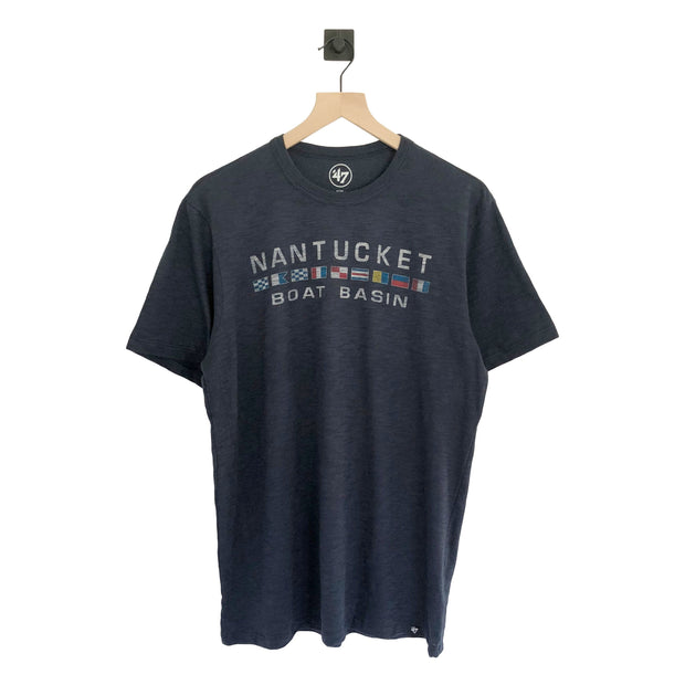 Nantucket Boat Basin Nautical Flag Scrum SS Tee