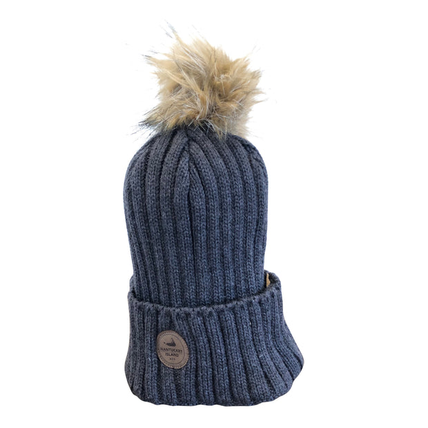 Nantucket Knit Fur Pom Beanie