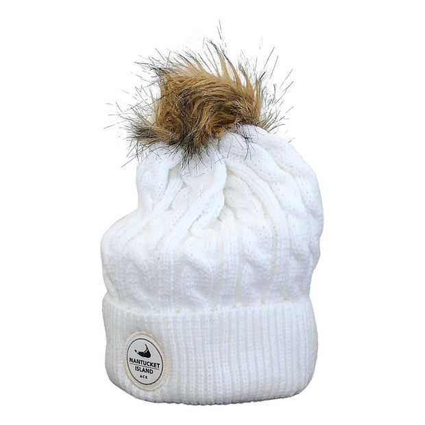 Nantucket Ahead Knit Fur Pom Beanie