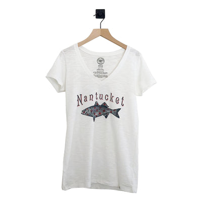 Nantucket Striper Ladies Scrum VNeck Tee