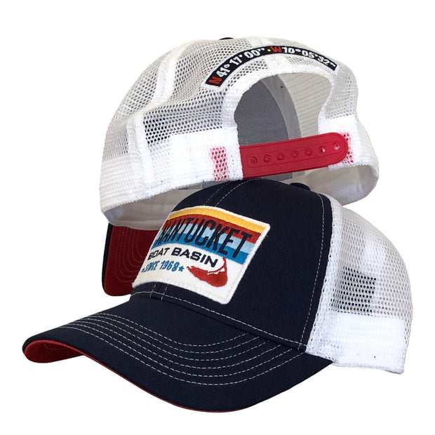 Nantucket Boat Basin Stripe Patch Mesh Trucker