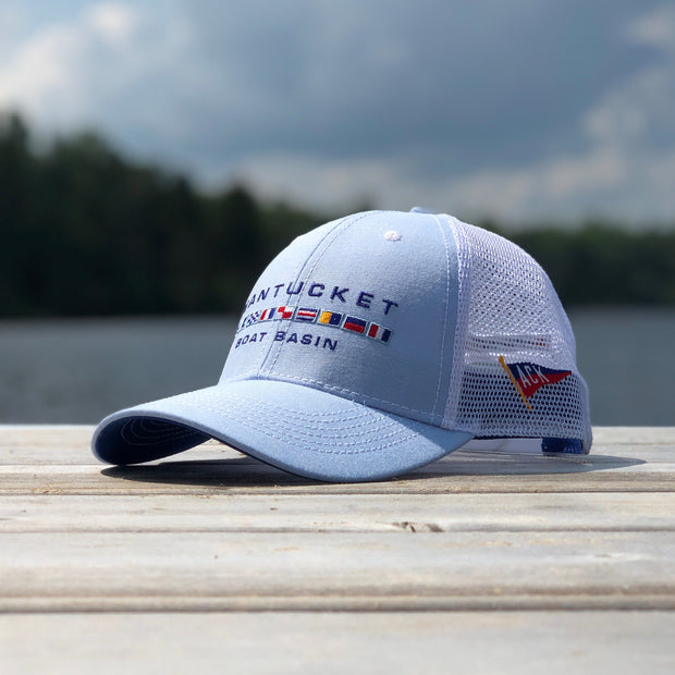 Nantucket Boat Basin Nautical Flags Blue Oxford Mesh Trucker Hat