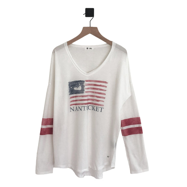 Nantucket Island Flag Ladies LS Tee