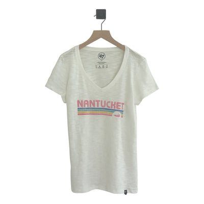 Nantucket Stripe Grit Scrum VNeck Tee