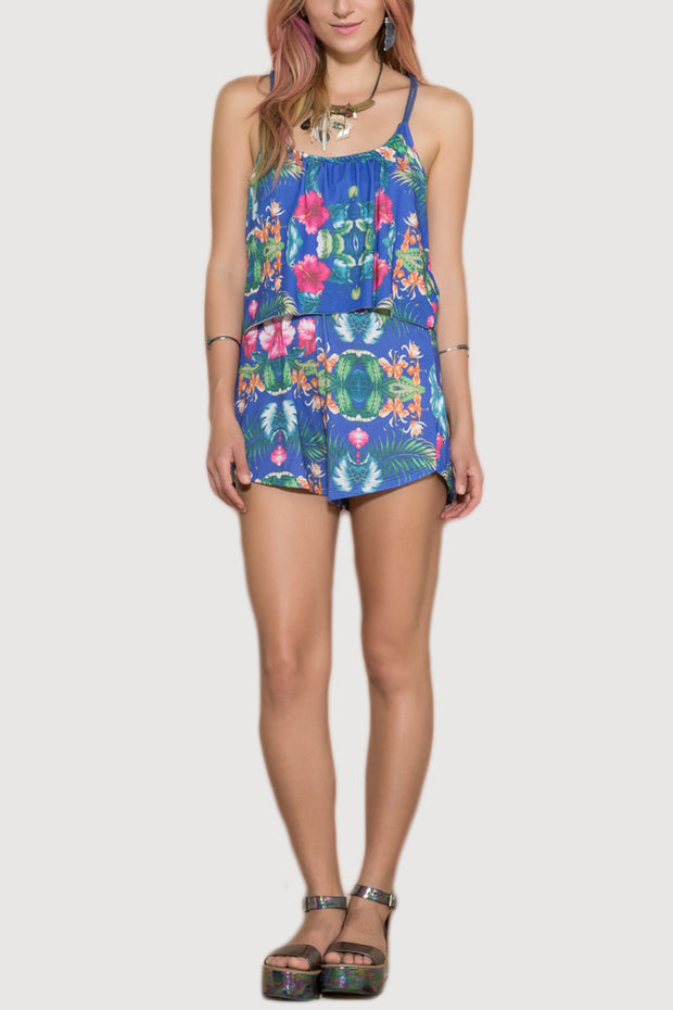 Blue Lagoon Open Back Playsuit