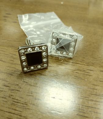Diamante like Black cuff links