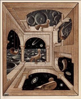 Works from M.C. Escher - Another world II (1947)