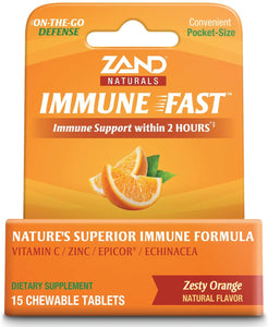 Zand Immune Fast Zesty Orange Chews | Boosts Immune Response & Cell Activity w/EpiCor* & Echinacea, 15 Tablets, 5 Serv