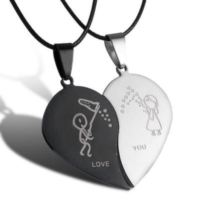 Couple Broken Heart Necklaces-Joya Jewelry