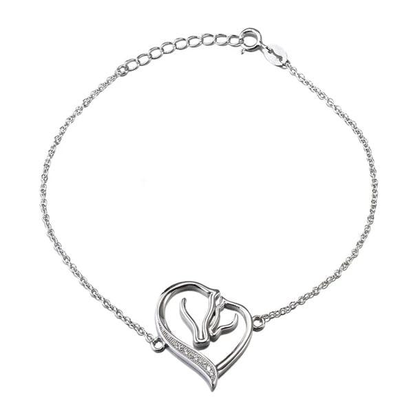 925 Sterling silver heart & horse heads bracelet-Joya Jewelry