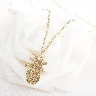 Gold pineapple necklace-Joya Jewelry
