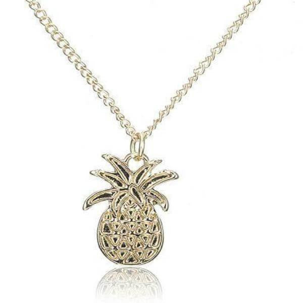 Golden Pineapple Pendant Chain Necklace
