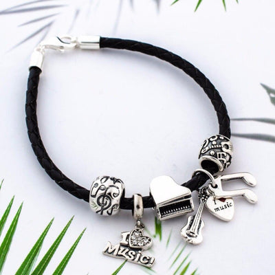Sound of music black braided leather charm bracelet-Joya Jewelry