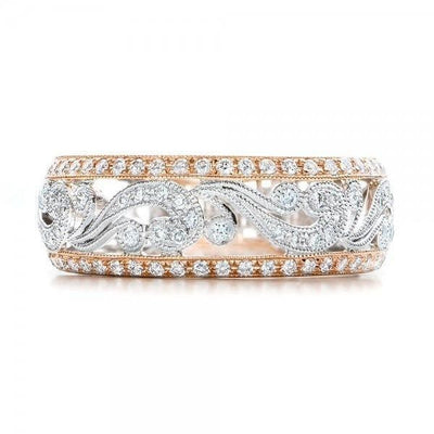 Silver and gold statement cubic zirconia ring-Joya Jewelry