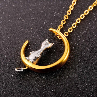 Cat on the moon necklace-Joya Jewelry