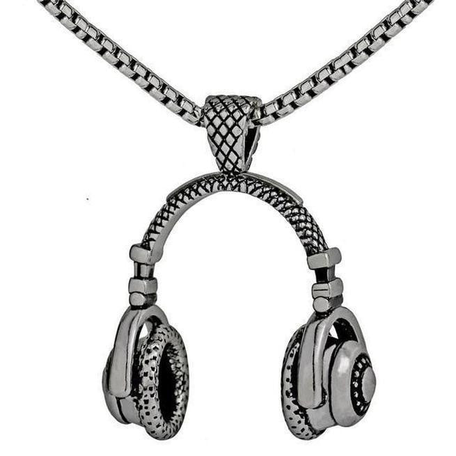 DJ Headphone Necklace Charm Pendant Music Jewelry
