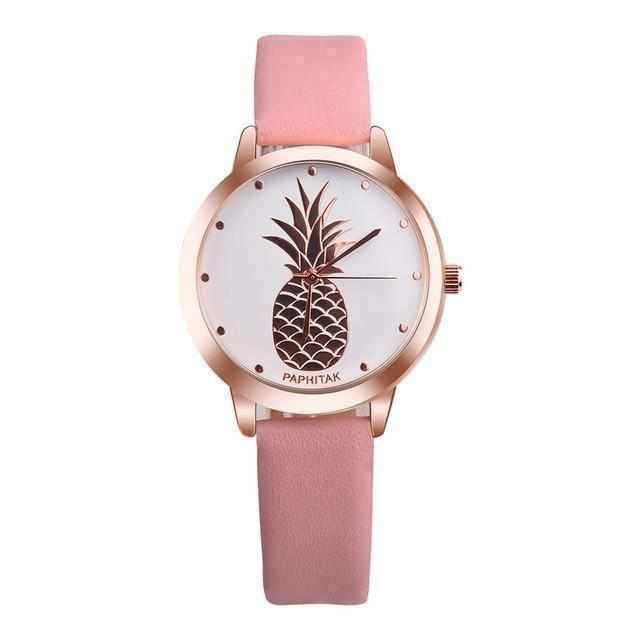 Rose Gold Analogue Watch Pineapple Design