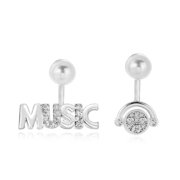 Irregular Silver Music CZ Crystal Earrings