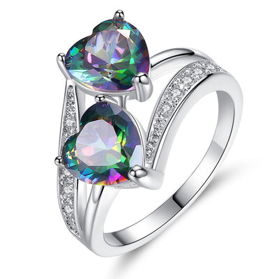 Double Heart Rainbow Ring-Joya Jewelry
