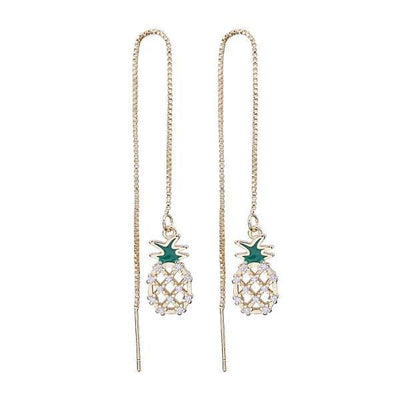 Gold Pineapple Charm Threader Dangle Earrings-Joya Jewelry